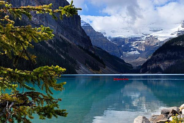 Lake Louise Poster featuring the photograph Canoe On Lake Louise by Larry Ricker