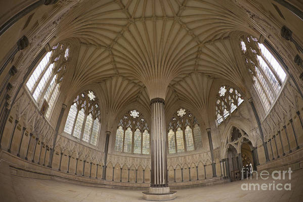 Chapter Poster featuring the photograph Chapter House, Wells Cathedral, Somerset Uk by Peter Barritt