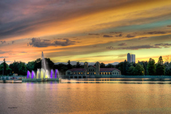 City Park Poster featuring the photograph City Park Fountain At Sunset by Stephen Johnson