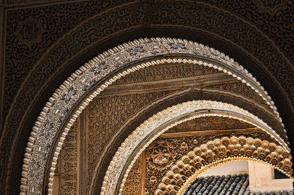 Alhambra Poster featuring the photograph Close-up View Of Moorish Arches In The Alhambra Palace In Granad by David Smith