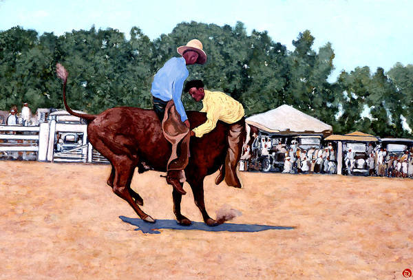 Bull Poster featuring the painting Cowboy Conundrum by Tom Roderick