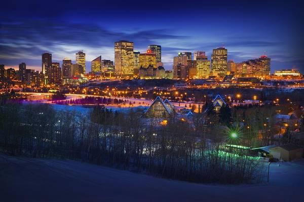 Scenery Poster featuring the photograph Edmonton Winter Skyline by Corey Hochachka