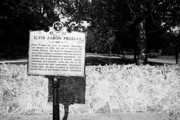 Elvis Poster featuring the photograph Elvis Presley Marker Nameplate And Low Wall Outside Graceland Memphis Tennessee Usa by Joe Fox