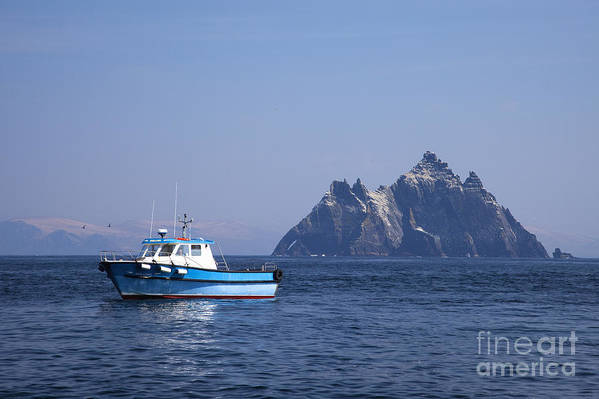 Fishing Poster featuring the photograph Fishing Boat Near Little Skellig, County Kerry, In Spring Sunshine, Ireland by Peter Barritt