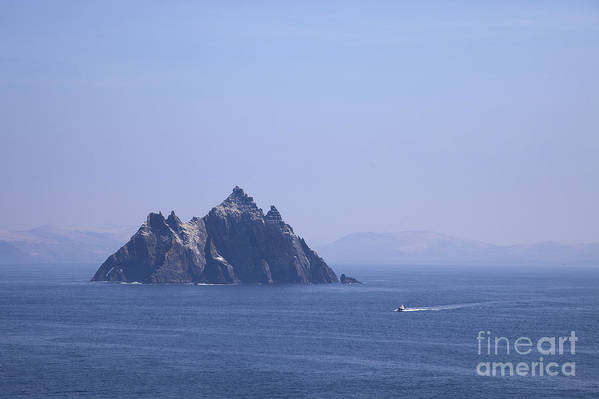 Fishing Poster featuring the photograph Fishing Boat Passing Little Skellig, County Kerry, In Spring Sunshine, Ireland by Peter Barritt