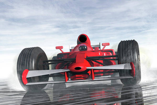 Car Poster featuring the digital art Formula One Racer by Carol and Mike Werner