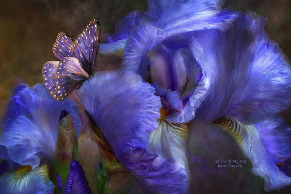 Iris Poster featuring the mixed media Goddess Of Mystery by Carol Cavalaris