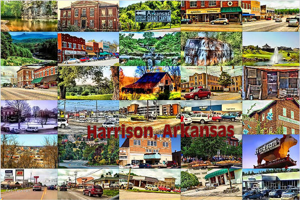 Harrison Poster featuring the digital art Harrison Arkansas Collage by Kathy Tarochione