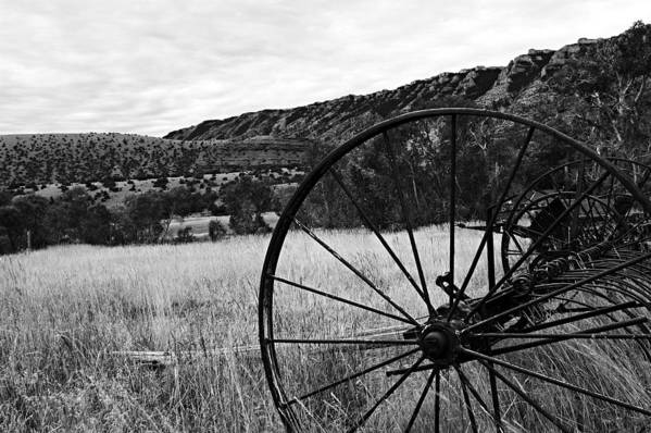 Bighorn Canyon National Recreation Area Poster featuring the photograph Hay Rake At The Ewing-snell Ranch by Larry Ricker