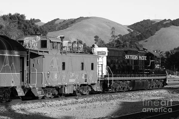 Black And White Poster featuring the photograph Historic Niles Trains In California . Southern Pacific Locomotive And Sante Fe Caboose.7d10843.bw by Wingsdomain Art and Photography