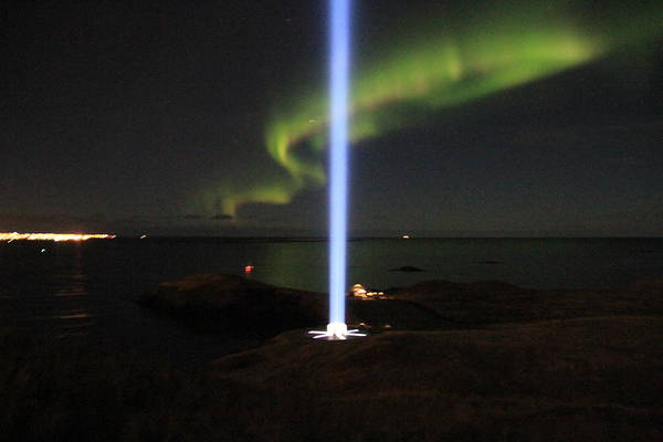 John Lennon Poster featuring the photograph Imagine Tower Of John Lennon In Iceland by Andres Zoran Ivanovic