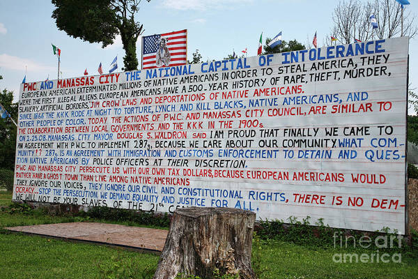 Flag Poster featuring the photograph Immigrant Protest Sign In Manassas by William Kuta