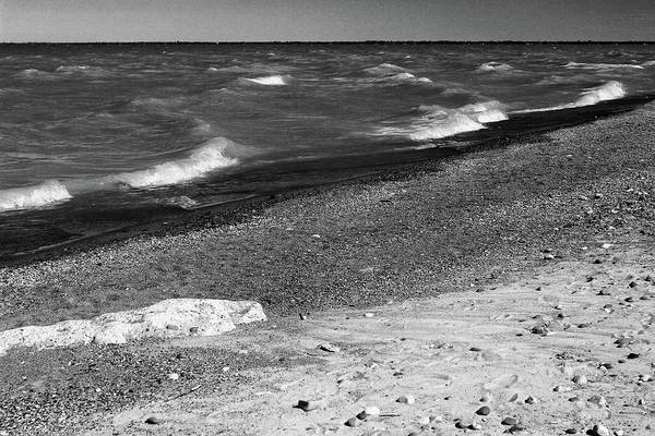 Lake Huron Poster featuring the photograph Lake Huron Windy Day 2 Bw by Mary Bedy