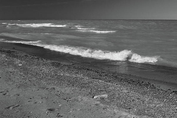 Lake Huron Poster featuring the photograph Lake Huron Windy Day 4 Bw by Mary Bedy