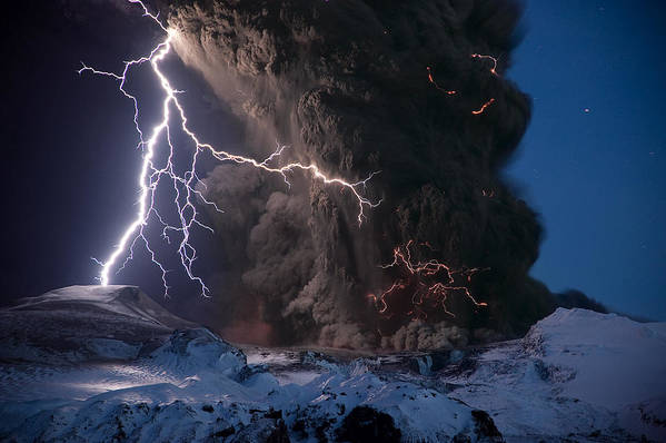 Europe Poster featuring the photograph Lightning Pierces The Erupting by Sigurdur H Stefnisson