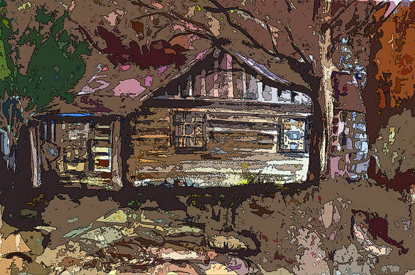 Log Cabin Poster featuring the painting Log Cabin In Autumn by Mindy Newman