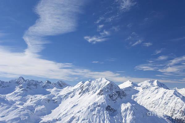 Mountain Poster featuring the photograph Mountain Panorama Lech Near St Saint Anton Am Arlberg Austria by Peter Barritt