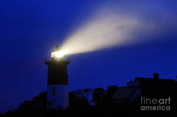 Cape Cod Poster featuring the photograph Nauset Light Storm by John Greim