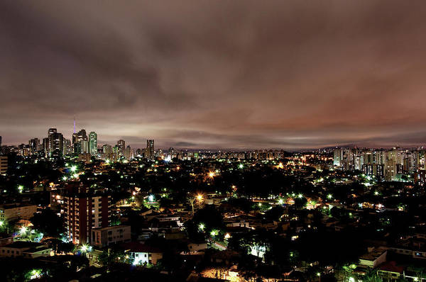 Horizontal Poster featuring the photograph Night Cityscape by People are strange by Patricia Kroger