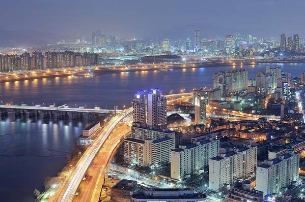 Horizontal Poster featuring the photograph Night View Of Seoul by Tokism