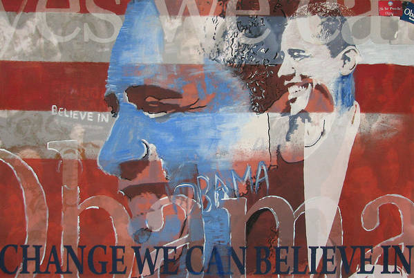Obama Art Poster featuring the mixed media Obama Yes by Xavier Carter