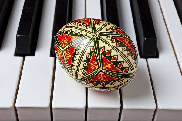 Easter Poster featuring the photograph Painted Easter Egg On Piano Keys by Garry Gay
