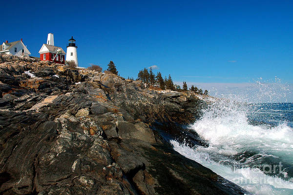 Coastline Poster featuring the photograph Pemaquid Point Lighthouse - Seascape Landscape Rocky Coast Maine by Jon Holiday