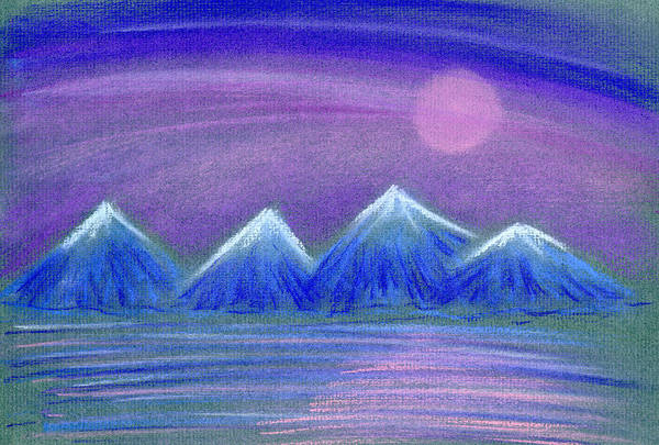 Landscape Poster featuring the painting Purple Night 3 by Hakon Soreide