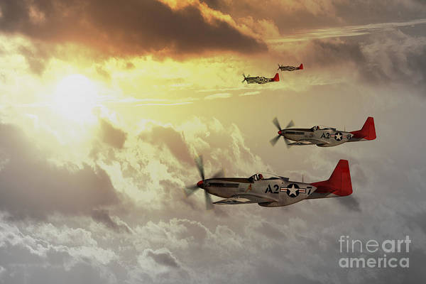 P51 Poster featuring the digital art Red Tails by J Biggadike