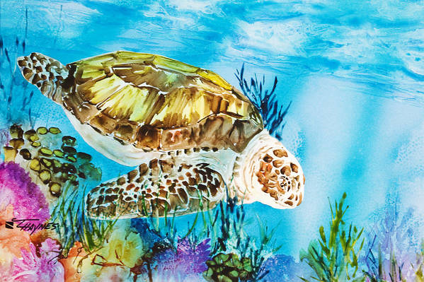 Alongside Poster featuring the painting Reef Surfin by Tanya L Haynes - Printscapes