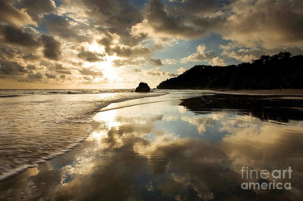 Beach Poster featuring the photograph Reflected Costa Rica Sunset by Matt Tilghman