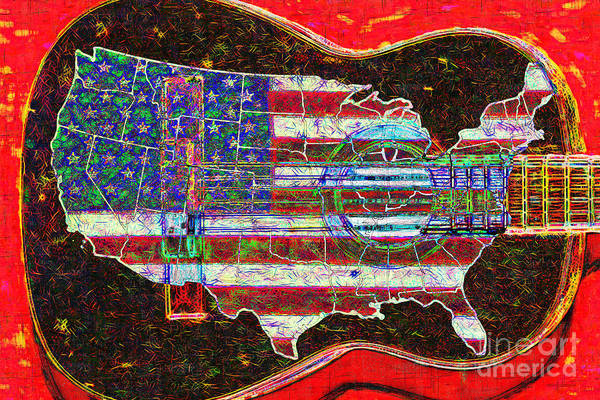 Music Poster featuring the photograph Rock And Roll America 20130123 Red by Wingsdomain Art and Photography