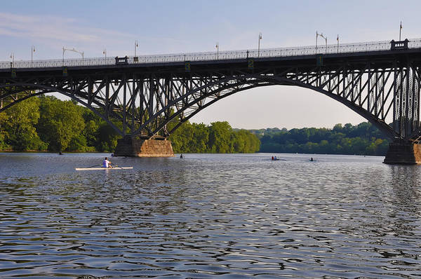 Rowing Poster featuring the photograph Rowing Under The Strawberry Mansion Bridge by Bill Cannon