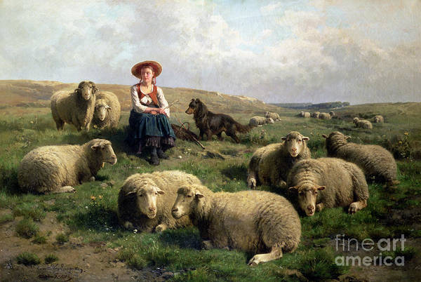 Shepherdess With Sheep In A Landscape By C. Leemputten (1841-1902) And Gerard Poster featuring the painting Shepherdess With Sheep In A Landscape by C Leemputten and T Gerard