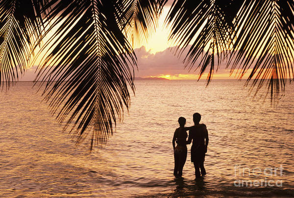 Bay Islands Poster featuring the photograph Silhouetted Couple by Larry Dale Gordon - Printscapes