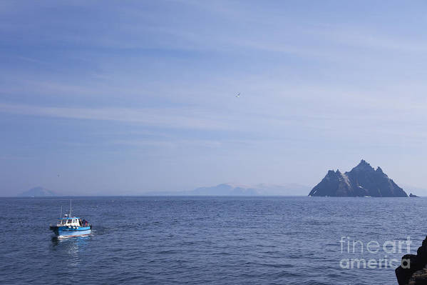 Boat Poster featuring the photograph Skellig Michael, County Kerry, Ireland by Peter Barritt