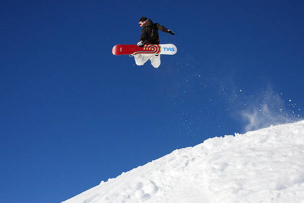 Serre Chevalier Poster featuring the photograph Snowboarder In Serre Chevalier France by Pierre Leclerc Photography