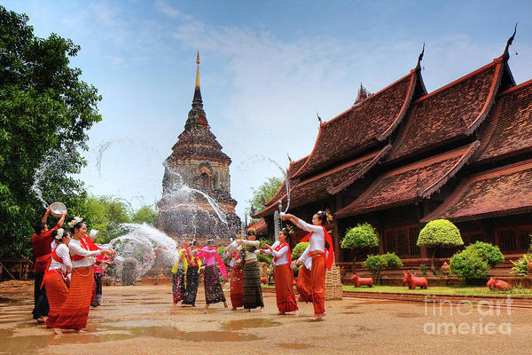 13 Poster featuring the photograph Songkran by Buchachon Petthanya