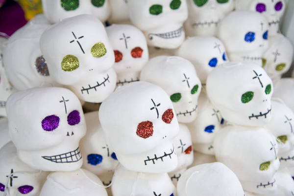 Color Image Poster featuring the photograph Sugar Skulls For Sale At The Day by Krista Rossow