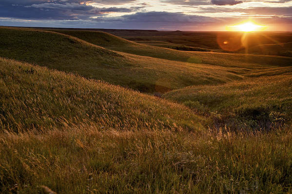 Outdoors Poster featuring the photograph Sunset Over The Kansas Prairie by Jim Richardson