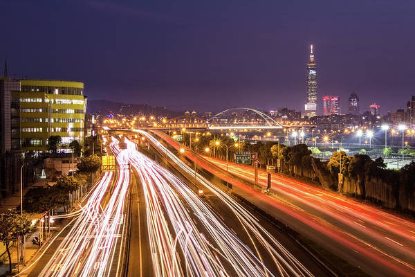 Horizontal Poster featuring the photograph Taipei Light Trails At Night by © copyright 2011 Sharleen Chao