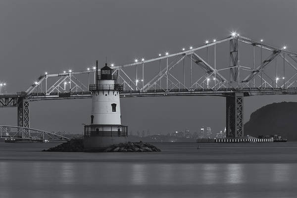 Clarence Holmes Poster featuring the photograph Tarrytown Lighthouse And Tappan Zee Bridge At Twilight II by Clarence Holmes