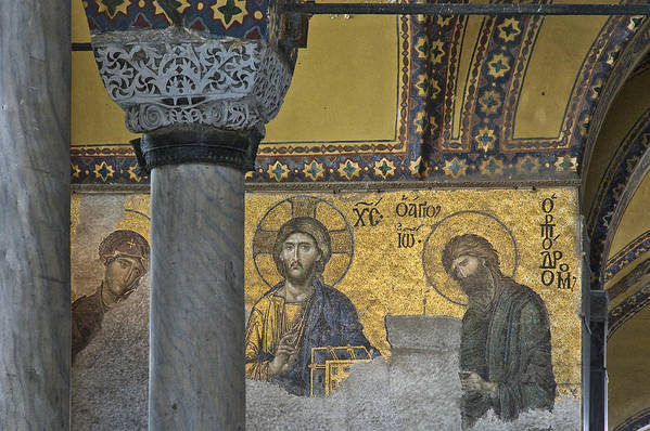 Turkey Poster featuring the photograph The Deesis Mosaic With Christ As Ruler At Hagia Sophia by Ayhan Altun