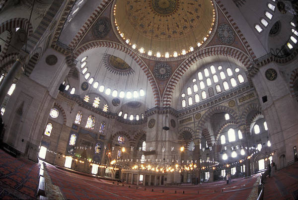 Istanbul Poster featuring the photograph The Interior Of The Suleymaniye Mosque by Richard Nowitz