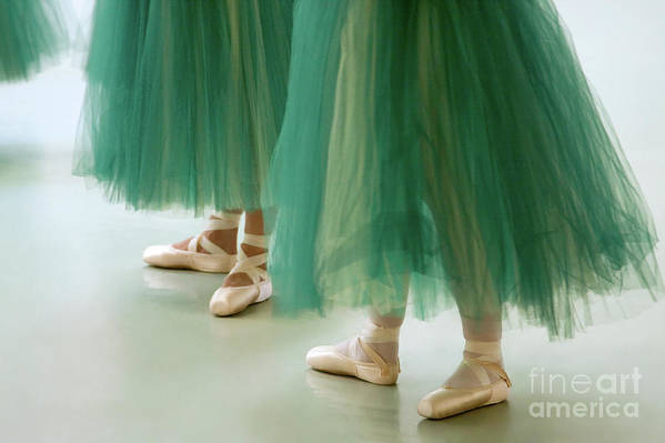 Dance Poster featuring the photograph Three Ballerinas In Green Tutus by Julia Hiebaum
