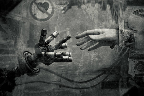 Gear And Human Hand Poster featuring the photograph Touch Of Gear by Roman Brygin