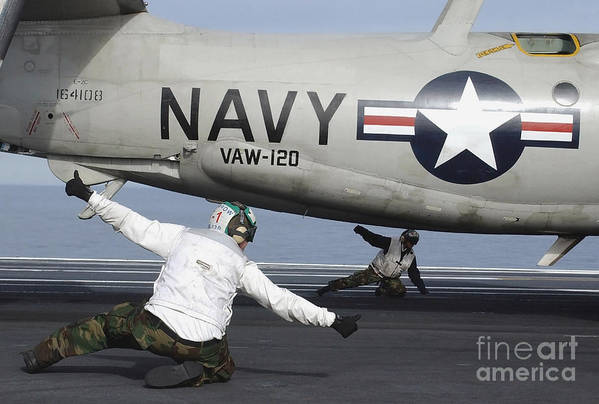 Horizontal Poster featuring the photograph U.s. Navy Sailors Give The Thumbs by Stocktrek Images