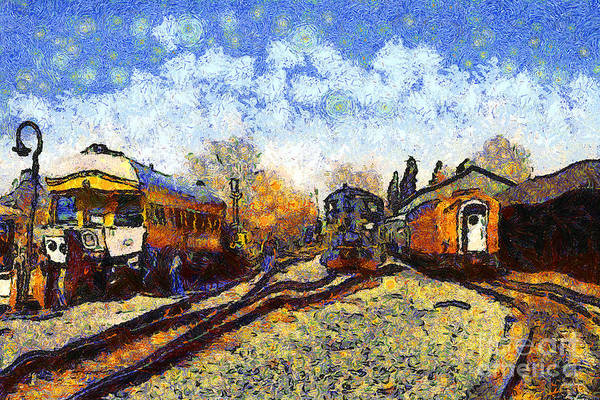 Transportation Poster featuring the photograph Van Gogh.s Train Station 7d11513 by Wingsdomain Art and Photography