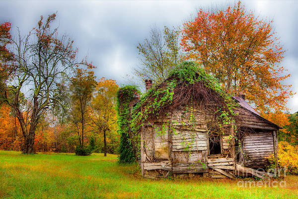 Rustic Poster featuring the photograph Vintage House Surrounded By Autumn Beauty by Dan Carmichael