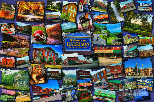 Harrison Poster featuring the digital art Welcome To Harrison Arkansas by Kathy Tarochione